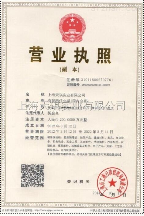 上海天琪实业有限公司营业执照