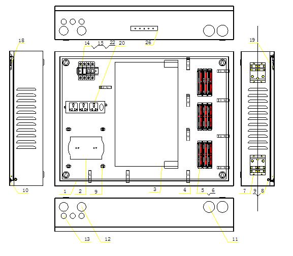 在要安装的墙体处按图3 所示用冲击钻打出固定孔.