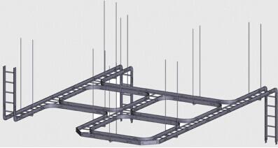 电缆桥架的安装主要有沿顶板安装,沿墙水平和垂直安装,沿竖井