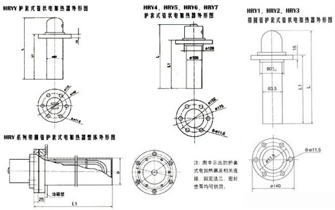 1,本电加热器有加热芯子和护套管组成,加热芯子用管状电热元件作为