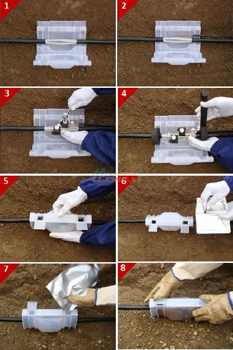 供应地埋电缆t接专用一体式灌胶防水接线保护盒gt-802园林景观,路灯