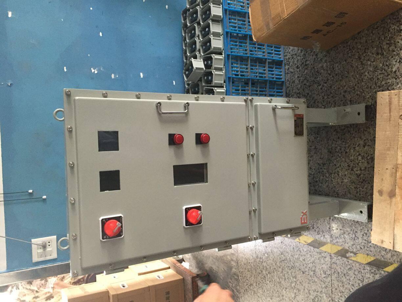 高速搅拌机防爆配电箱1、1用途 BXM(D)系列防爆照明(动力)配电箱(以下简称配电箱),适用于II类B级或C级,T1-T4组以下级别、组别的含有爆炸性气体环境危险场所的1区、2区,用于交流50Hz、额定电压220或380V的线路中,用于控制三相异步电动机的起动、停止,也可用于远距离控制电动机,具有过载、短路保护功能。 1、2、工作条件 a.海拔不超过2000m; b.